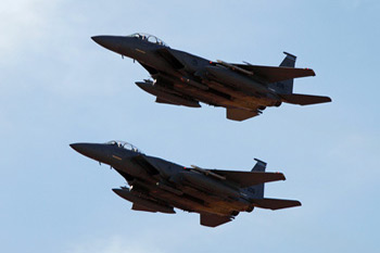 McDonnell Douglas (now Boeing) F-15 Eagle pair at Duxford American Air Day 2011