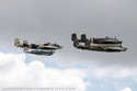 North American B-25 Mitchell Grumpy, Sarinah, Russells Raiders and Curtiss P-40N Kittyhawk Little Jeanne at Duxford Flying Legends 2009
