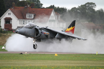 Harrier Jump Jet surrounded by spray