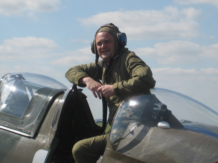 Comedian Al Murray in Supermarine Spitfire at Imperial War Museum Duxford