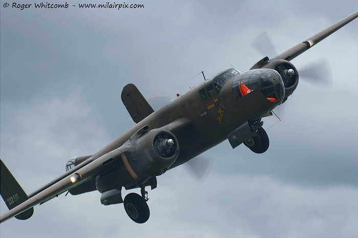 North American B-25 Mitchell 232511/N5-149 Sarinah visits North Weald for the weekend fly-in on Sunday 23rd June 2013
