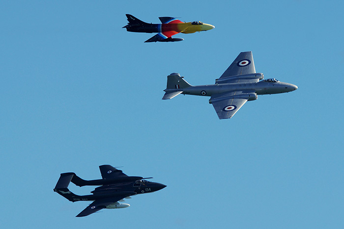 Heritage flypast - Miss Demeanour, XH134 & GCVIX at Bournemouth Air Show (Sunday)