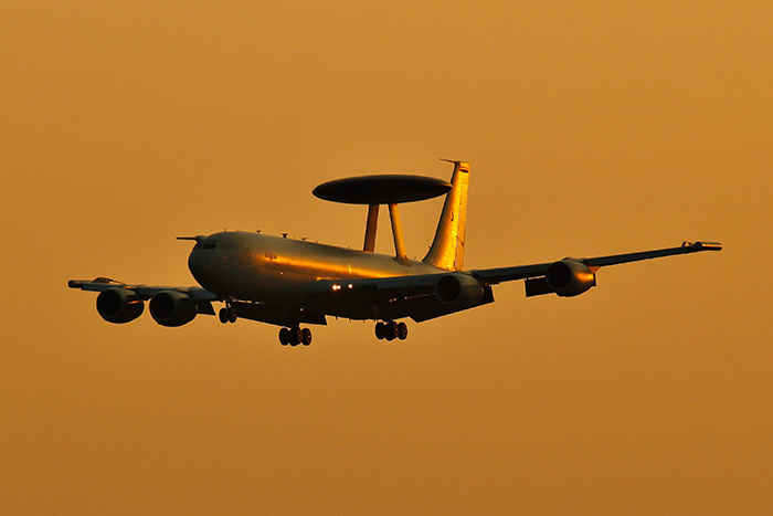 E-3D Sentry from No. 8 squadron arriving at RAF Coningsby