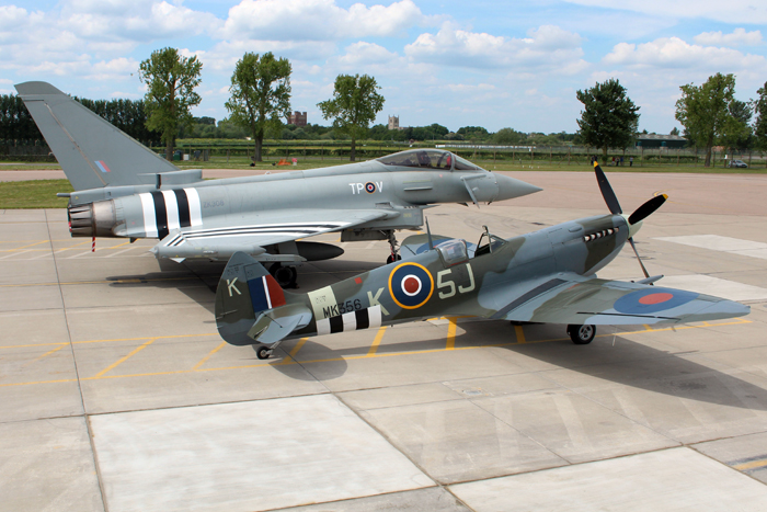 The Typhoon and Spitfire in D-Day markings were on show at RAF Coningsby on the 21st May