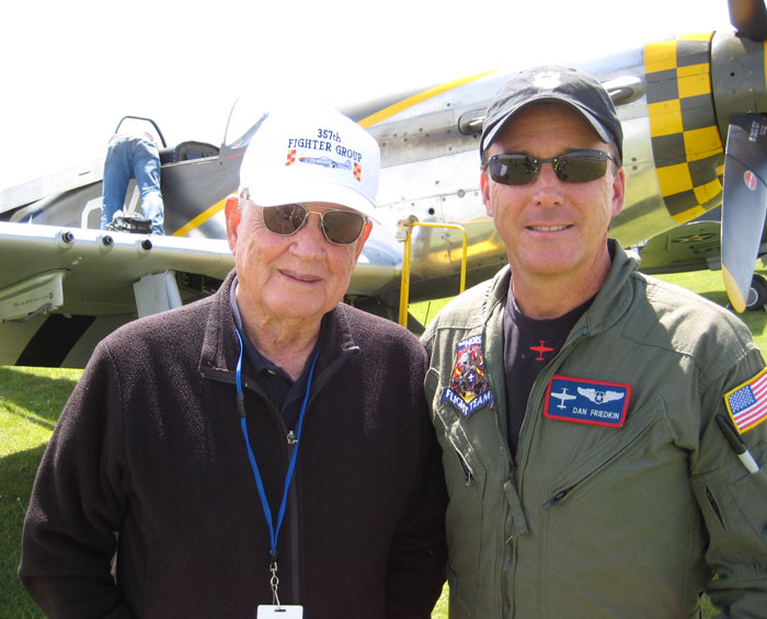 Bud Anderson and Dan Friedkin after opening the Spring Air Show in Mustang P-51 Miss Velma