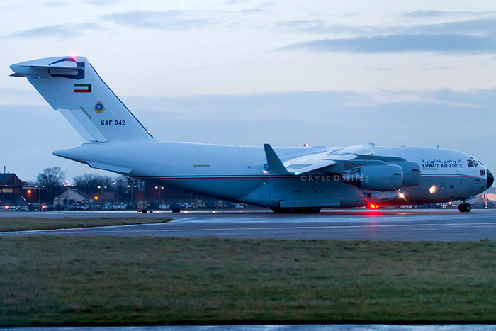 Kuwait Air Force C-17A KAF 342 delivery flight at RAF Mildenhall