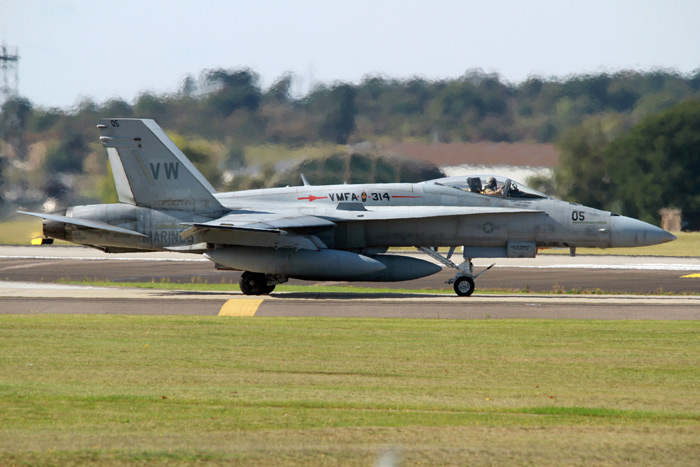 Several F/A-18A Hornets from the VMFA were at RAF Lakenheath