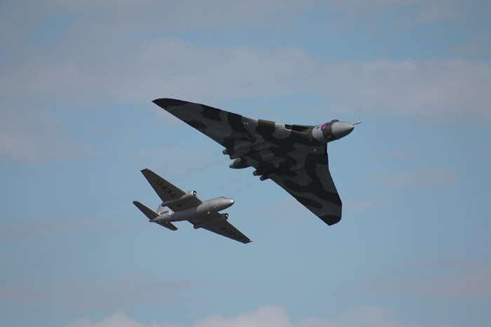 The world's only airworthy Canberra PR9 and Vulcan were flying in formation at the Newcastle Festival of Flight over Dundrum Bay in Northern Ireland