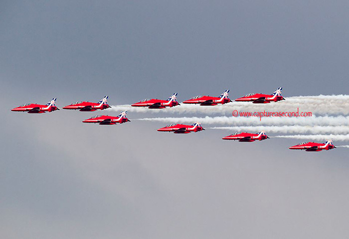 The Red Arrows flew their first nine-ship today with their 50th anniversary tail art