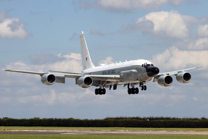 51 Squadron's RC-135W Rivet Joint based at RAF Waddington in Lincolnshire made its public debut at the Waddington Air Show
