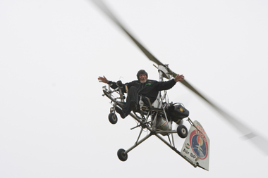 Ken Wallis on Autogyro G-AXAS