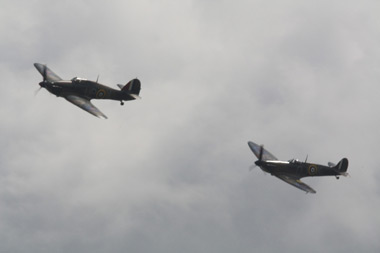 Supermarine Spitfire Mk IIA G-AWIJ P7350 and Hawker Hurricane Mk I G-HUPW R4118 - Both these aircraft fought in the Battle of Britain