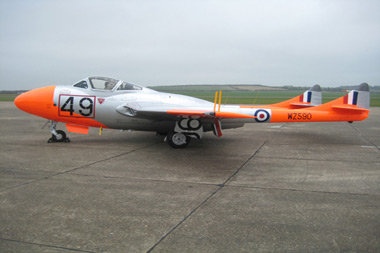 Roll out of de Havilland Vampire WZ590 at Duxford Aerodrome