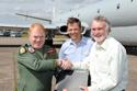 David Walton receiving the 700 at the Hawker Siddeley Nimrod MR2 8001 XV226 delivery at Bruntingthorpe