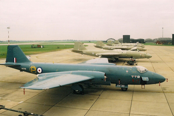 English Electric Canberra line up at RAF Marham