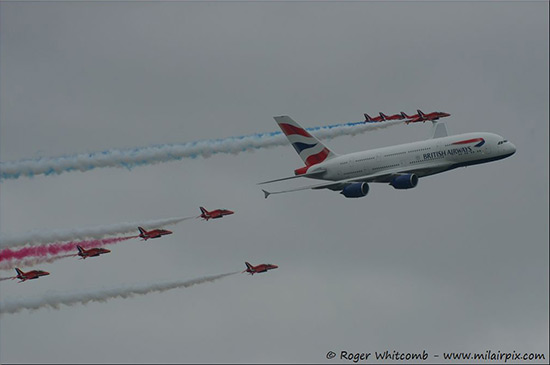 The Red Arrows with Airbus A380