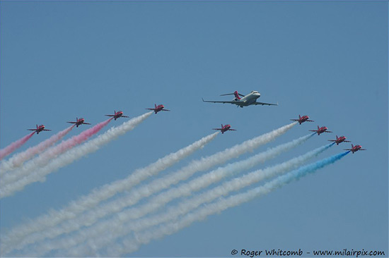 The Red Arrows and Sentinel at Waddington