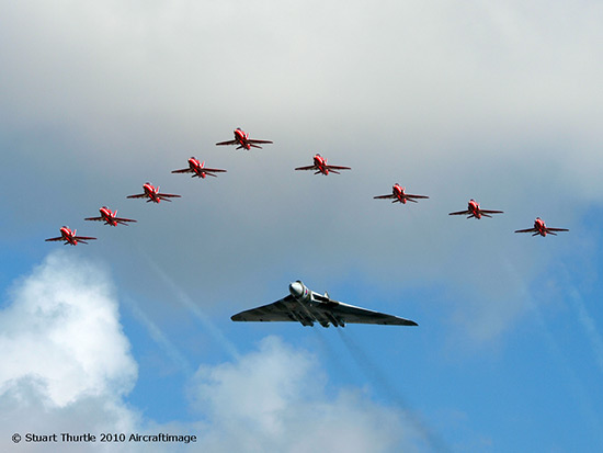 The Red Arrows and Vulcan XH558 at Jersey International Air Display 2010