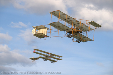 Avro Triplane replica and Bristol Boxkite replica at Old Warden Air Show 2009