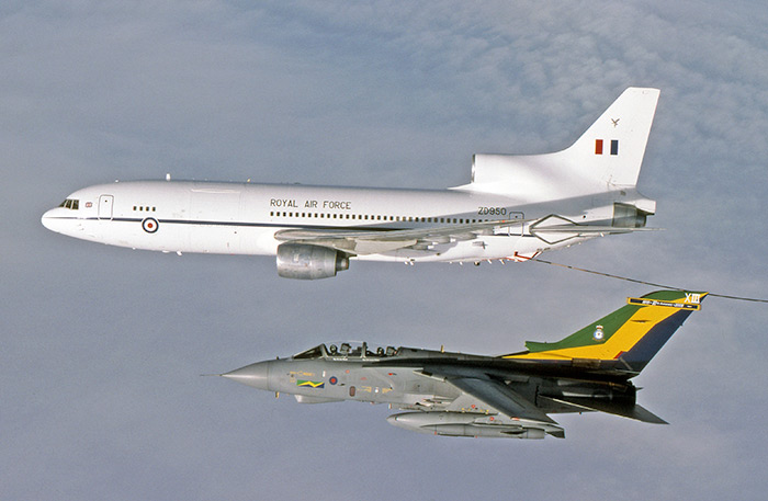 TriStar ZD950 with 13 Sqn Tornado GR1A in 75th anniversary scheme. Photo by Peter R Foster