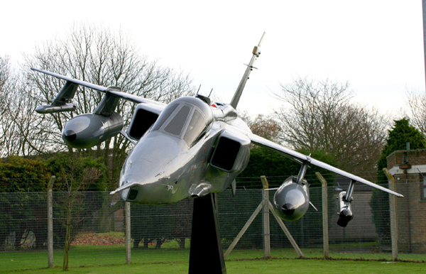 Gate guardian SEPECAT Jaguar XW563 at RAF Coltishall. Photo by Bruce Martin