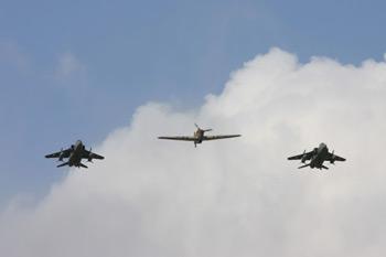 Hawker Hurricane Mk IV G-HURY KZ321 and SEPECAT Jaguar at RAF Coltishall Last Enthusiasts Day