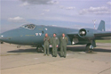 English Electric Canberra T4 WJ874/VN799 (painted in blue paint scheme) and flight crew