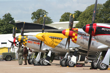 North American Aviation P-51 Mustangs at Duxford Flying Legends 2009